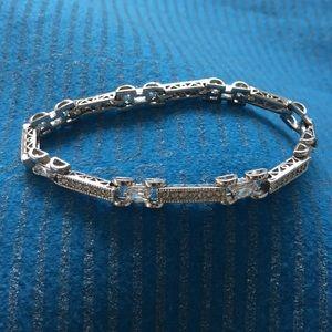 Tennis Bracelet, Diamond Look Silver in Color